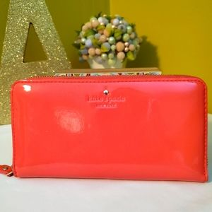 Kate Spade long patent zipper wallet